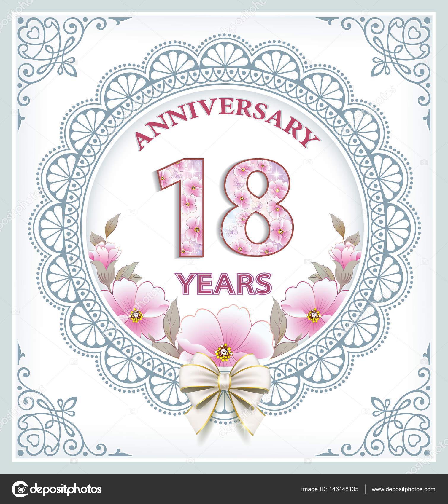 Tarjeta de aniversario 18 años — Archivo Imágenes Vectoriales ...
