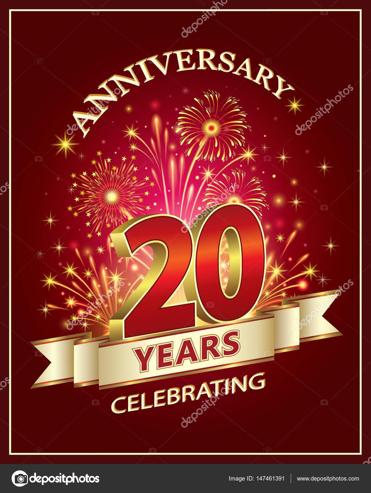 Carte d'anniversaire 20 ans — Image vectorielle seriga © #147461391