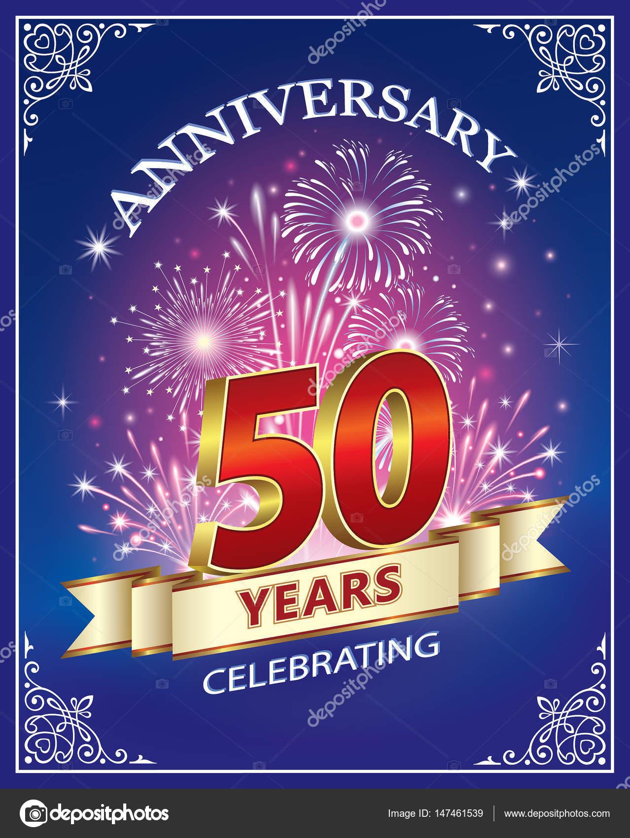 Tarjeta de aniversario de 50 años — Archivo Imágenes Vectoriales ...