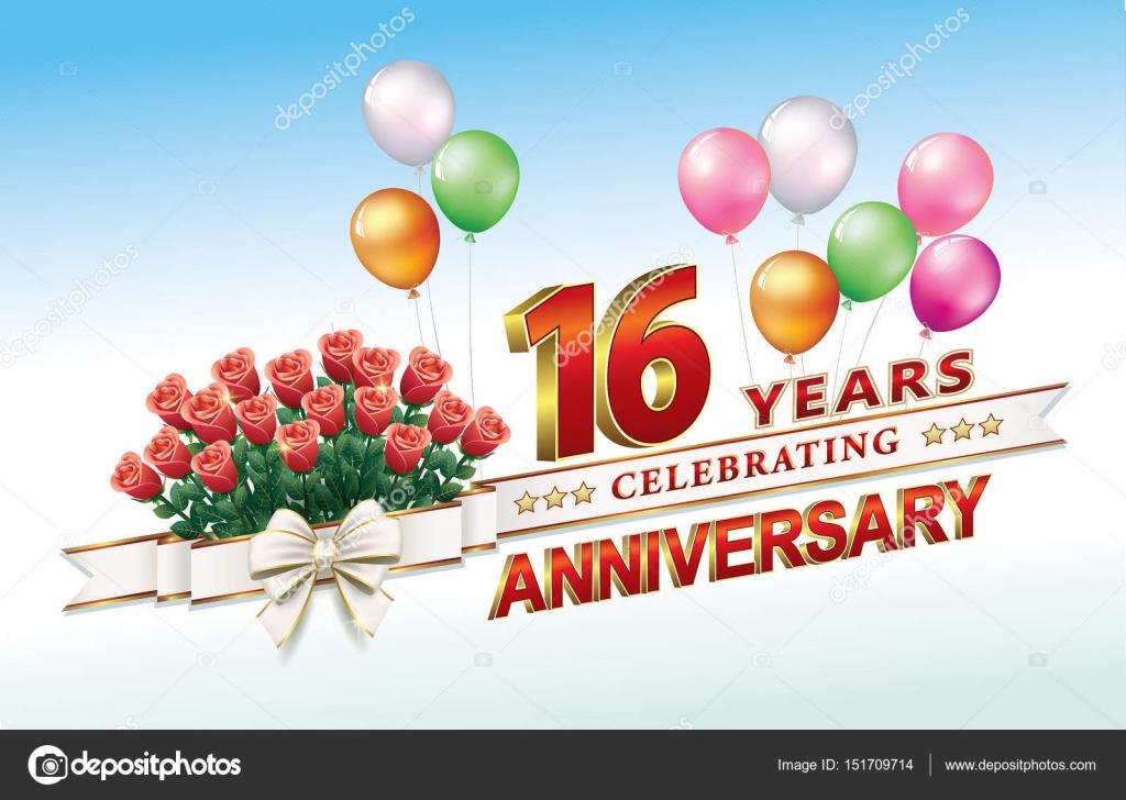 Anniversario Di Matrimonio 16 Anni.Anniversary Card 16 Years Stock Vector C Seriga 151709714