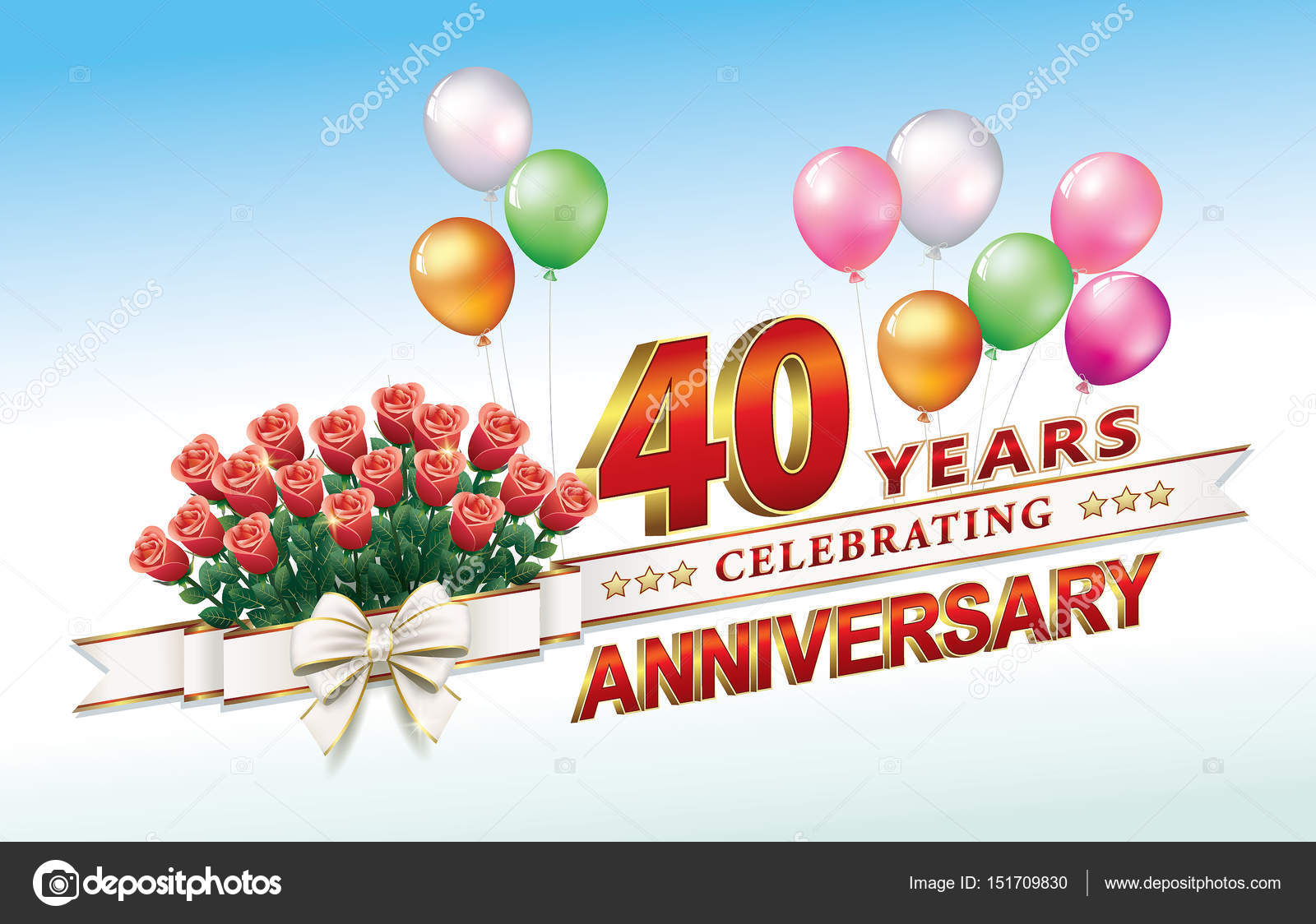 Hochzeitstag 40 Jahre Stockvektor C Seriga 151709830