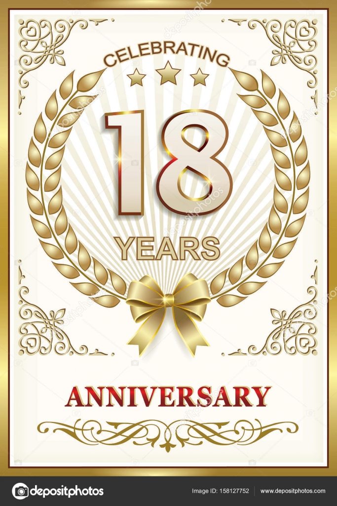 Hochzeitstag 18 Jahre — Stockvektor © seriga #158127752