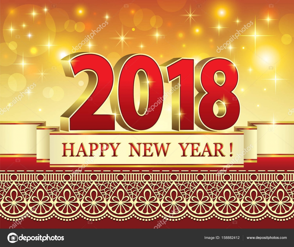 postcard happy new year 2018 stock vector