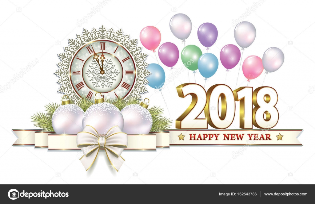 Postcard Happy New Year 2018 — Stock Vector © seriga #162543786