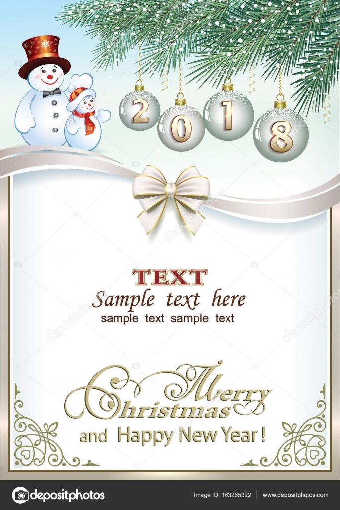 2018 Christmas Card With A Snowman Stock Vector Seriga 163265322