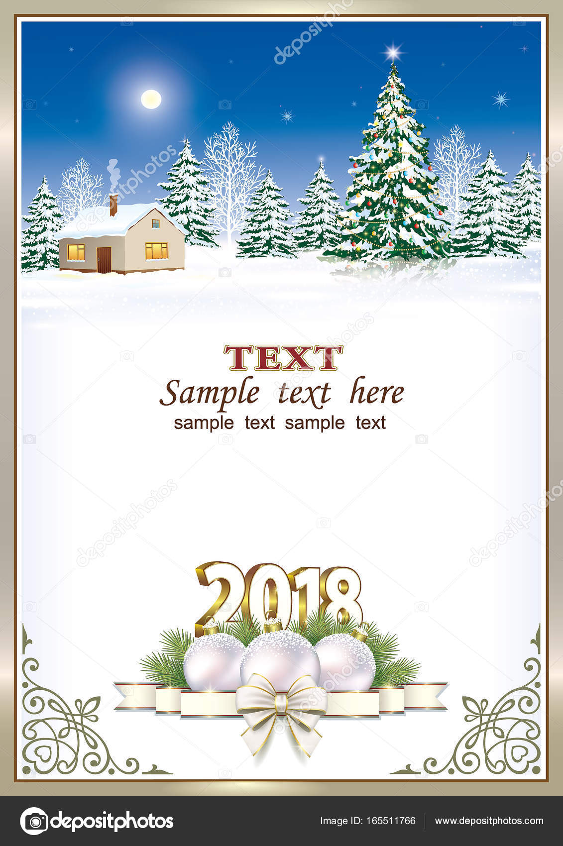 Christmas Card 2018 On A Background Of Nature Stock Vector