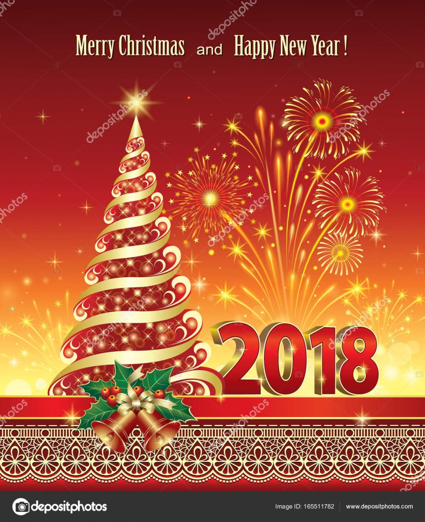 postcard happy new year 2018 with a christmas tree stock vector