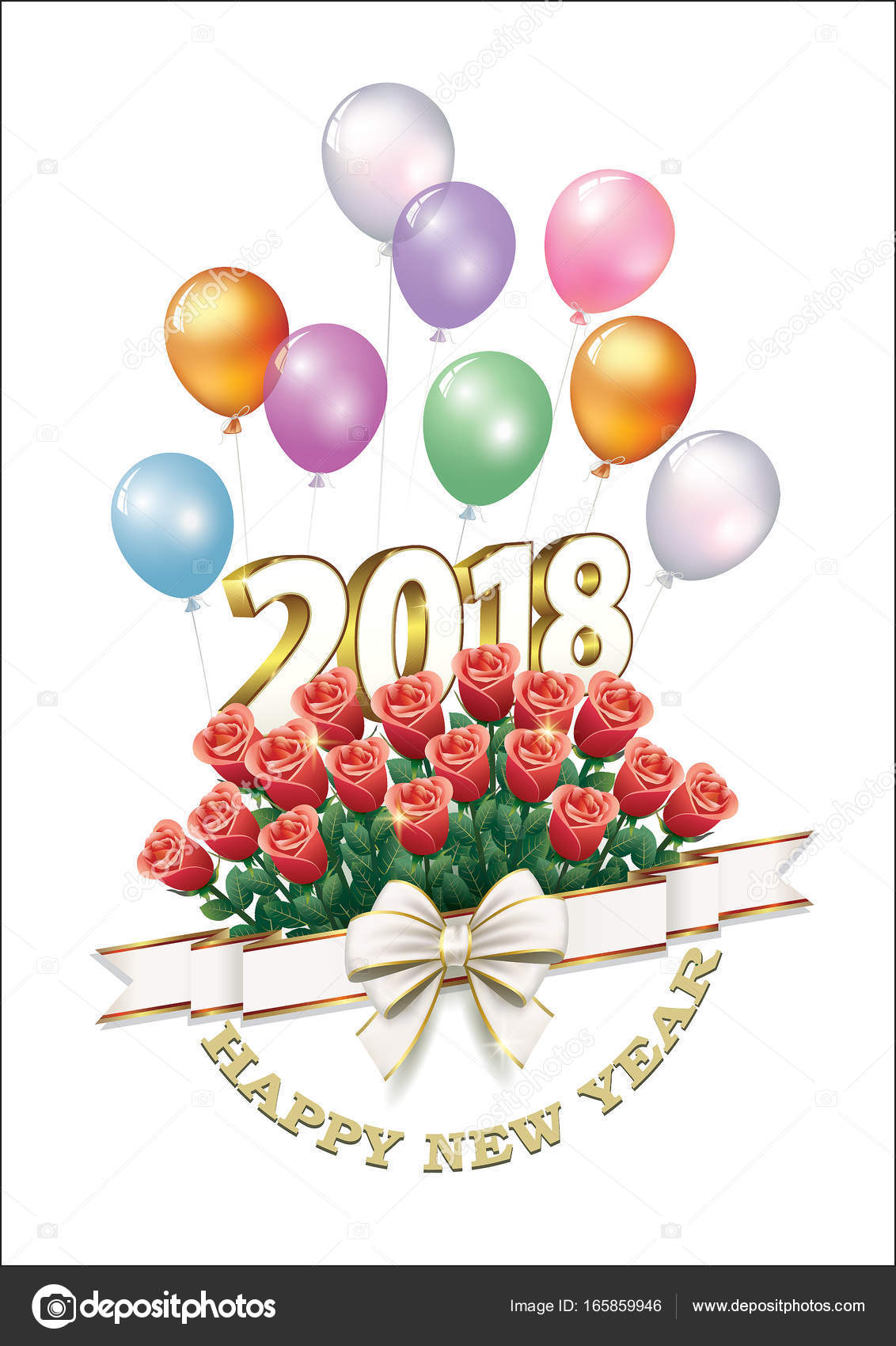 date 2018 happy new year with a bouquet of roses and a ribbon with a bow on a light background with balloons in 3d format vector illustration vector by