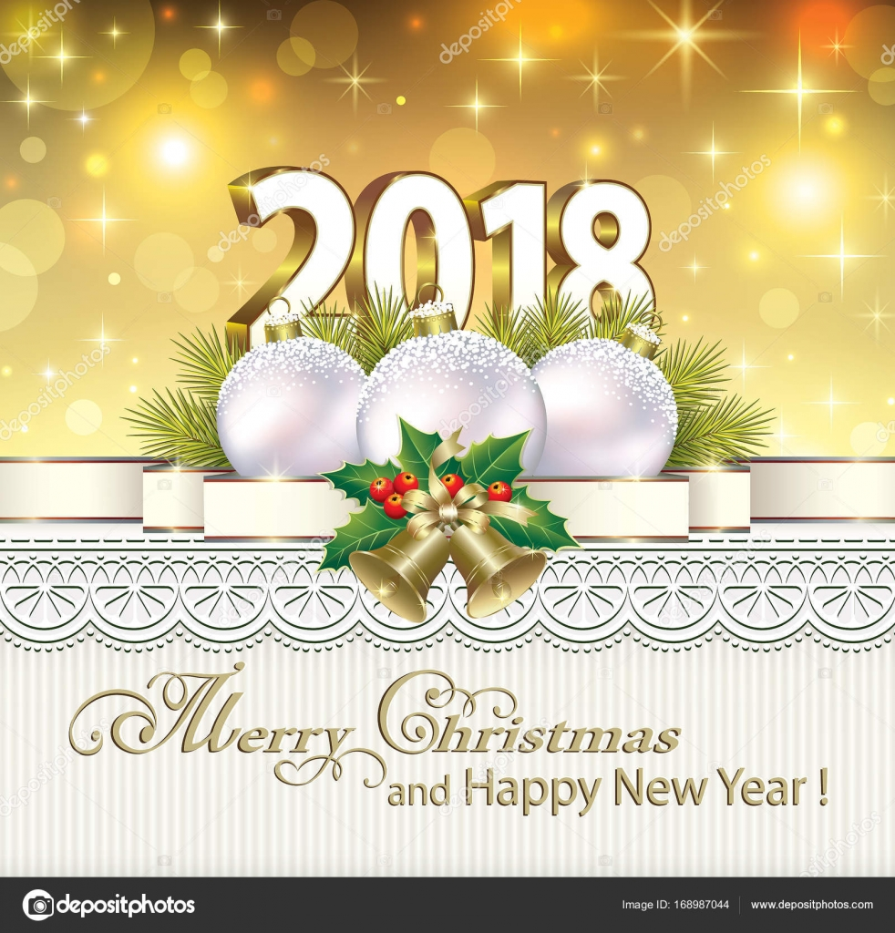 Postcard Happy New Year 2018 with balls — Stock Vector © seriga ...