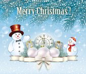 Christmas card with snowmen, clock,and gift boxes