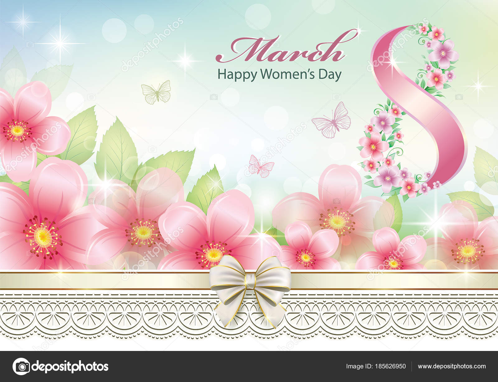 8 Mart Dünya Kadınlar Günü Tebrik Kartı Stok Vektör Seriga