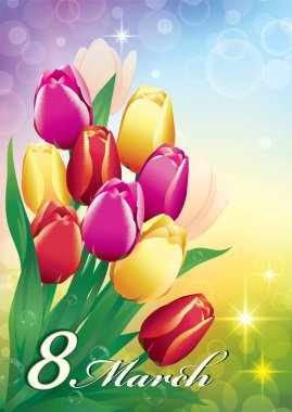 March 8  with a bouquet of tulips