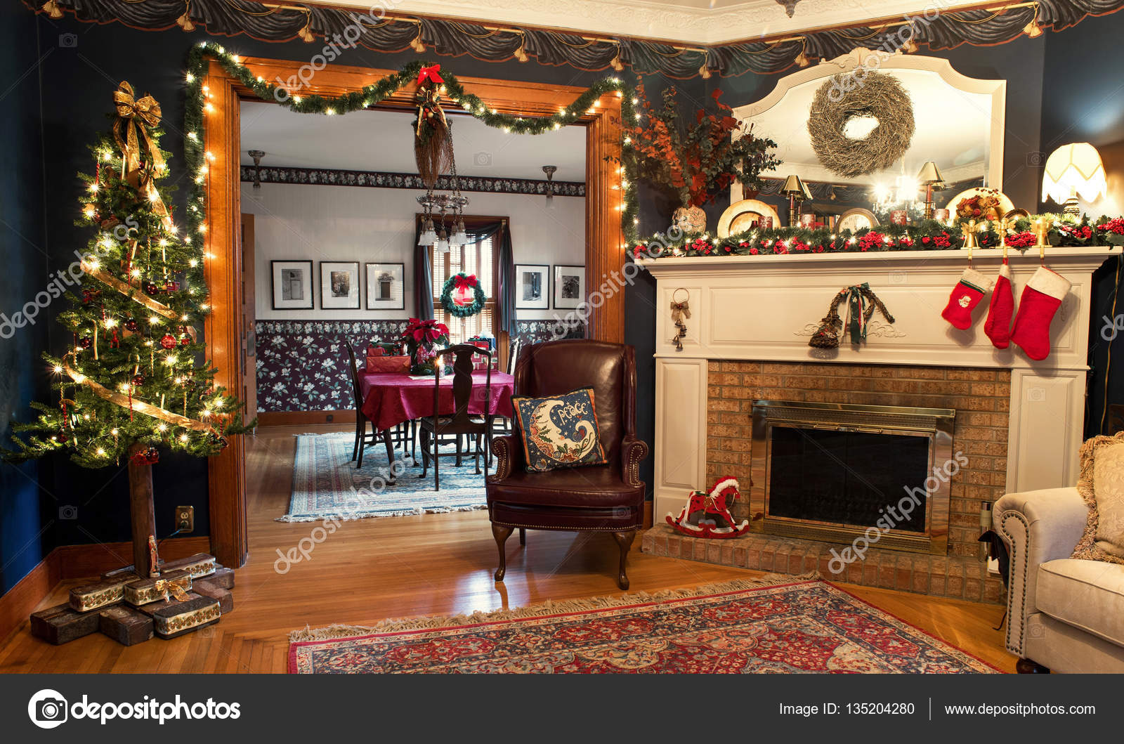 Interior Christmas Living Dining Rooms Stock Photo Image By Lawcain 135204280