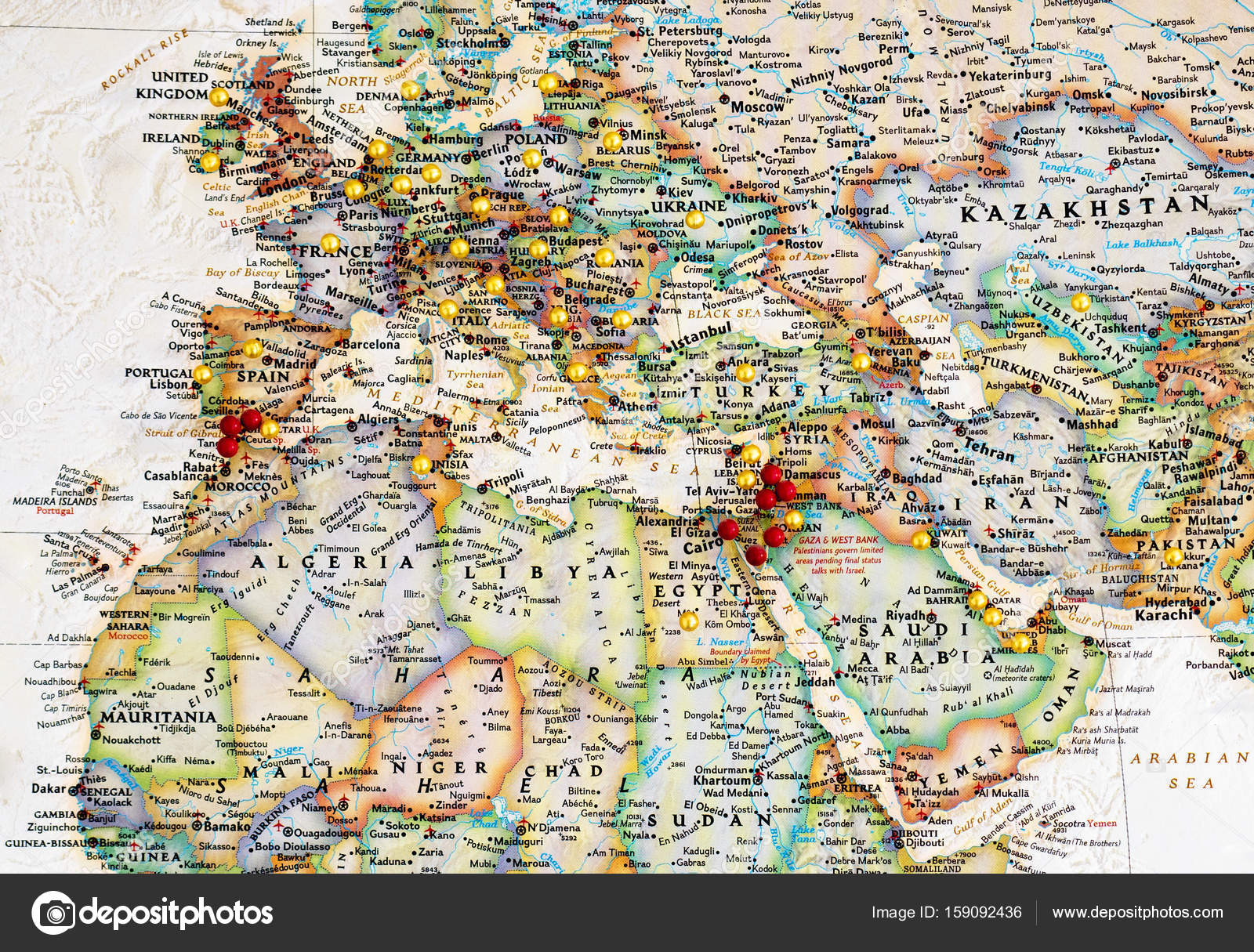 Europe & Middle East Map with Map Tacks – Stock Editorial Photo ...