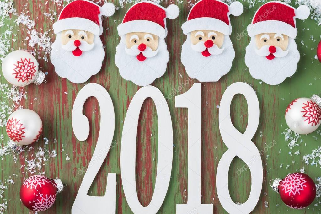 noel 2018 Background New 2018 Year with numbers, Santa Claus faces, balls  noel 2018