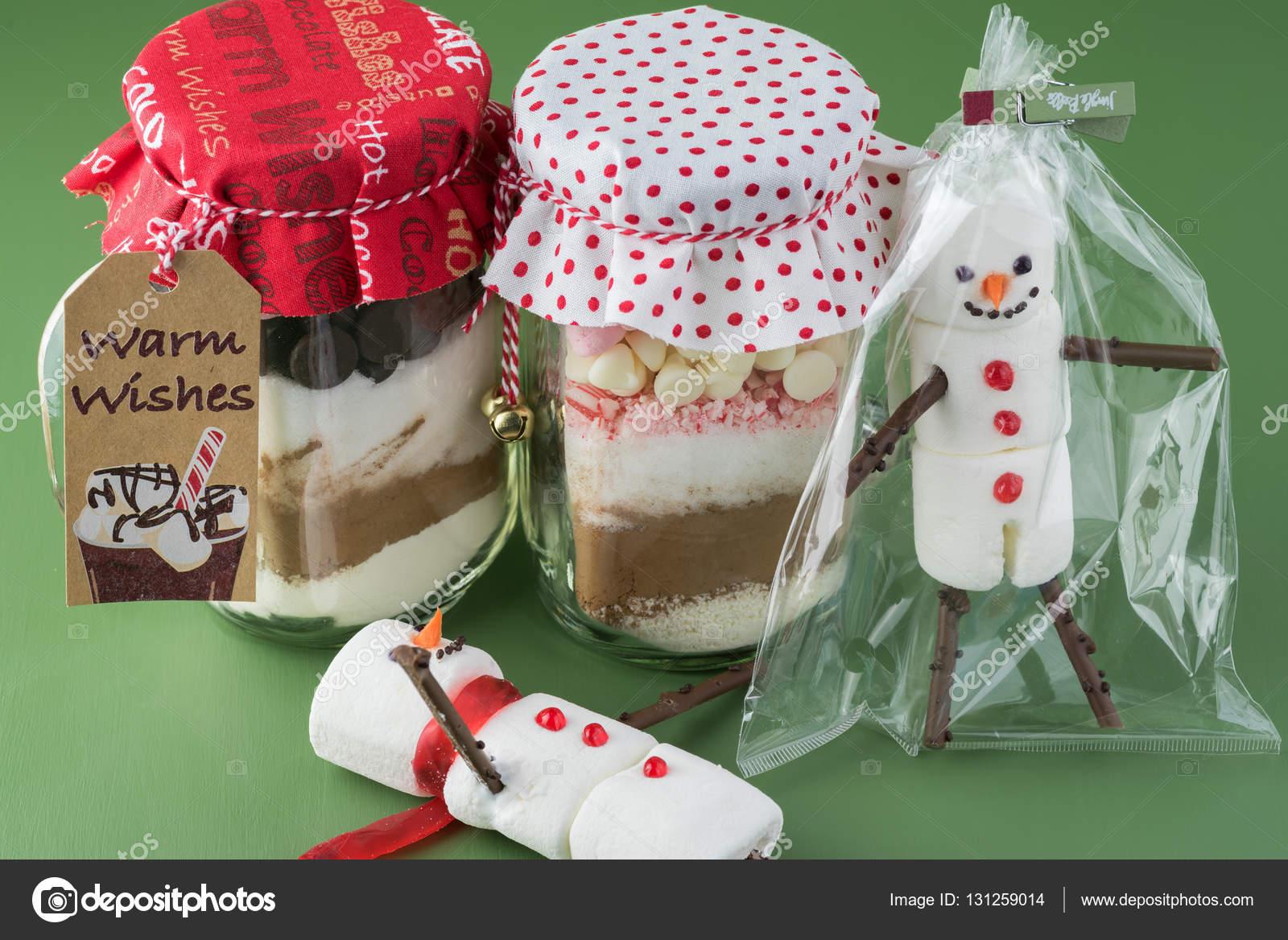 Geschenkideen Weihnachten Essen.Weihnachten Essen Geschenkidee Heißer Kakao Mix Glas Stockfoto