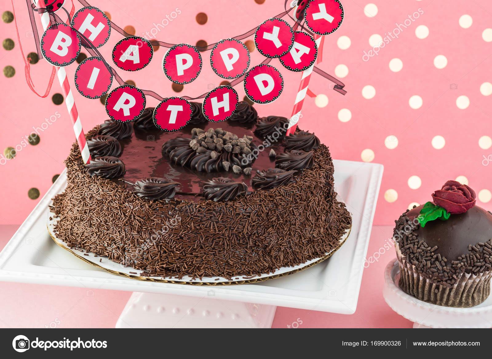 Chocolate birthday cake  — Stock Photo © russiandoll #169900326