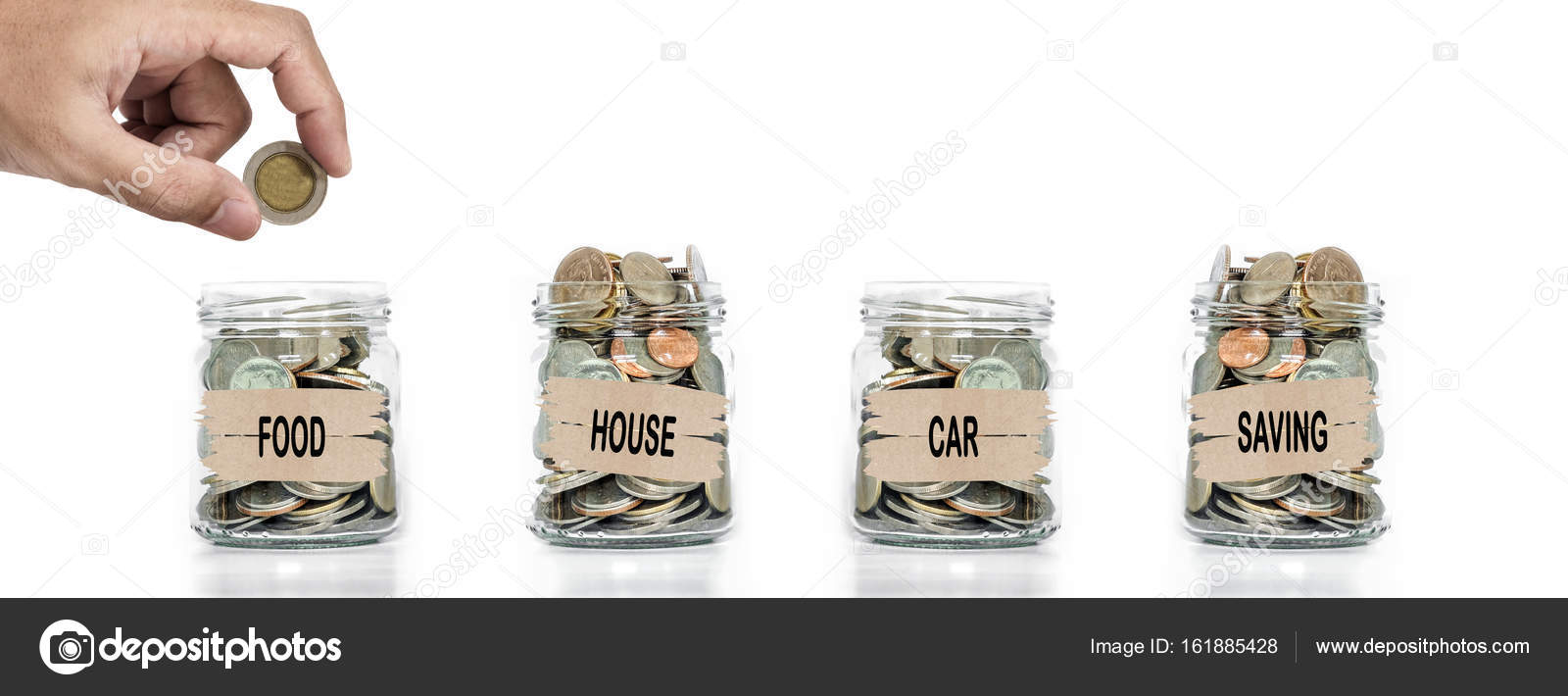 Hand putting coin in glass jar. Allocate money for foods, house, car ...