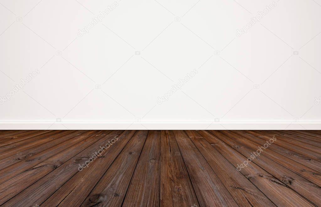 New Donkere Houten Vloer Met Witte Muur Achtergrond — Stockfoto #NN24