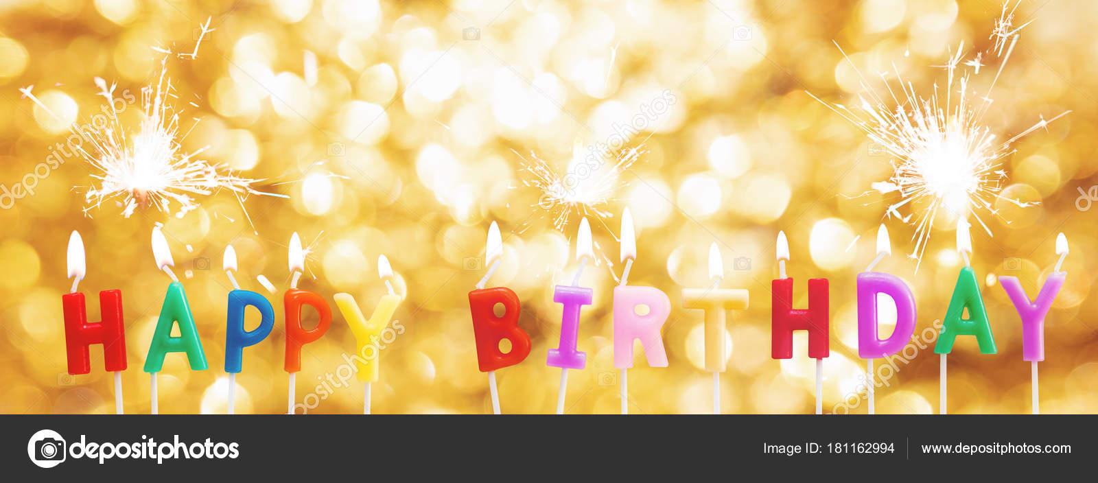Happy Birthday Candles Golden Bokeh Light Background Sparkler Stock Photo