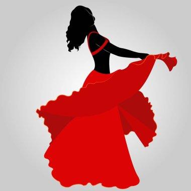 silhouette of oriental dancer