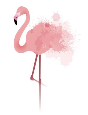 pink flamingo with watercolor splatters