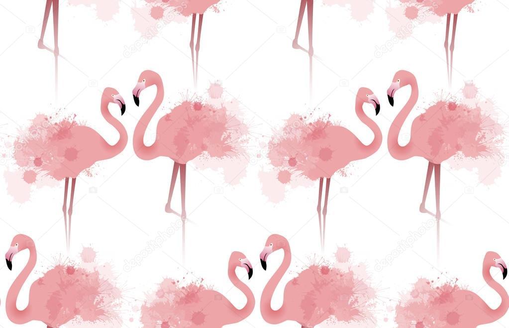 Seamless texture of flamingos