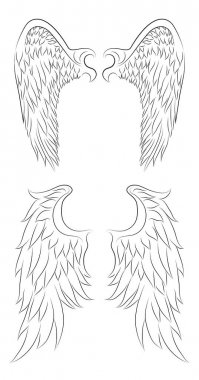 drawing of an angel wings.