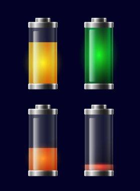 Set of transparent different charging batteries