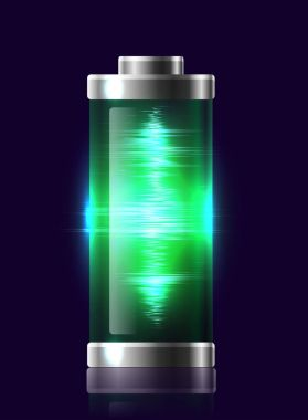 Illustration transparent charged battery