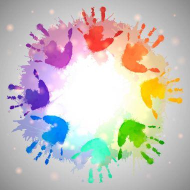 Rainbow prints of children hands