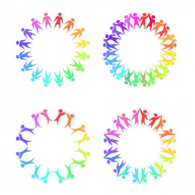 Set of round frames with rainbow people holding hands clip art vector