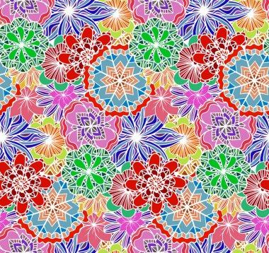 multicolored texture with doodle flowers