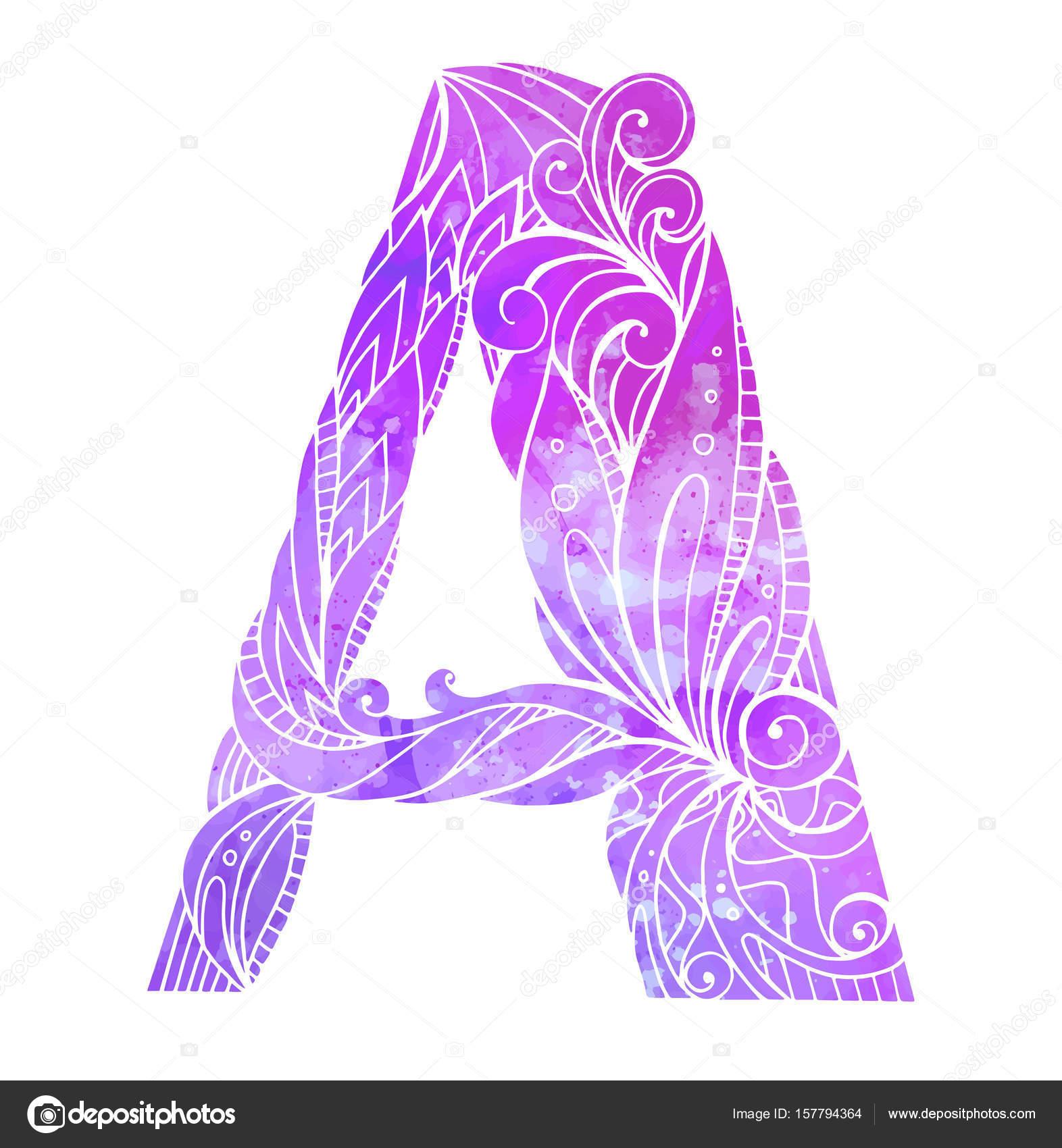 Colorear a mano alzada dibujo Letra capital A — Archivo Imágenes ...
