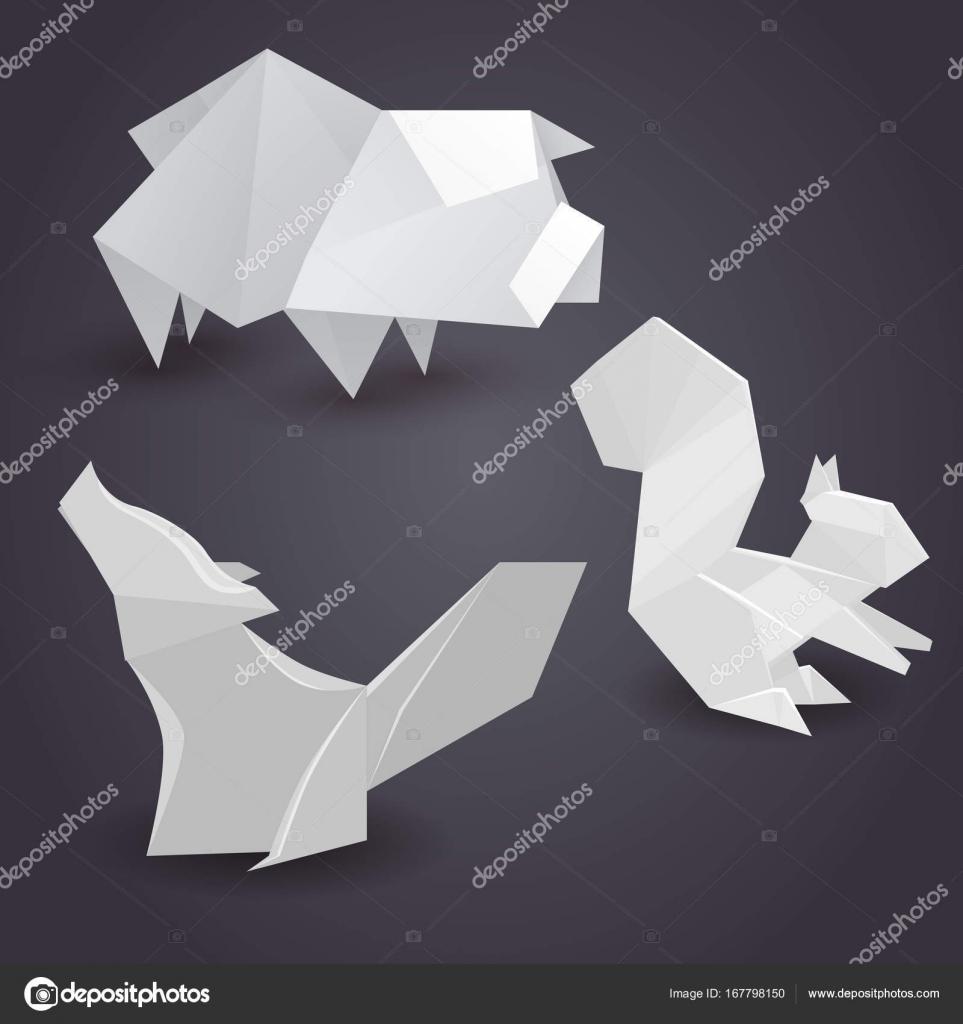 Lobo Hecho De Figuras Geometricas Conjunto De Figuras De Papel