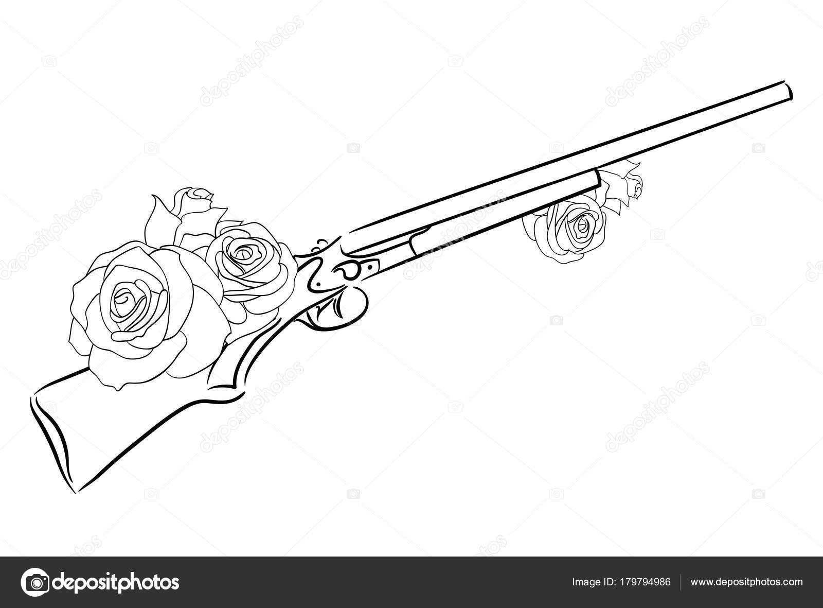 Dibujo Lineal Viejo Rifle Con Rosas Elemento Vector Para Diseño ...