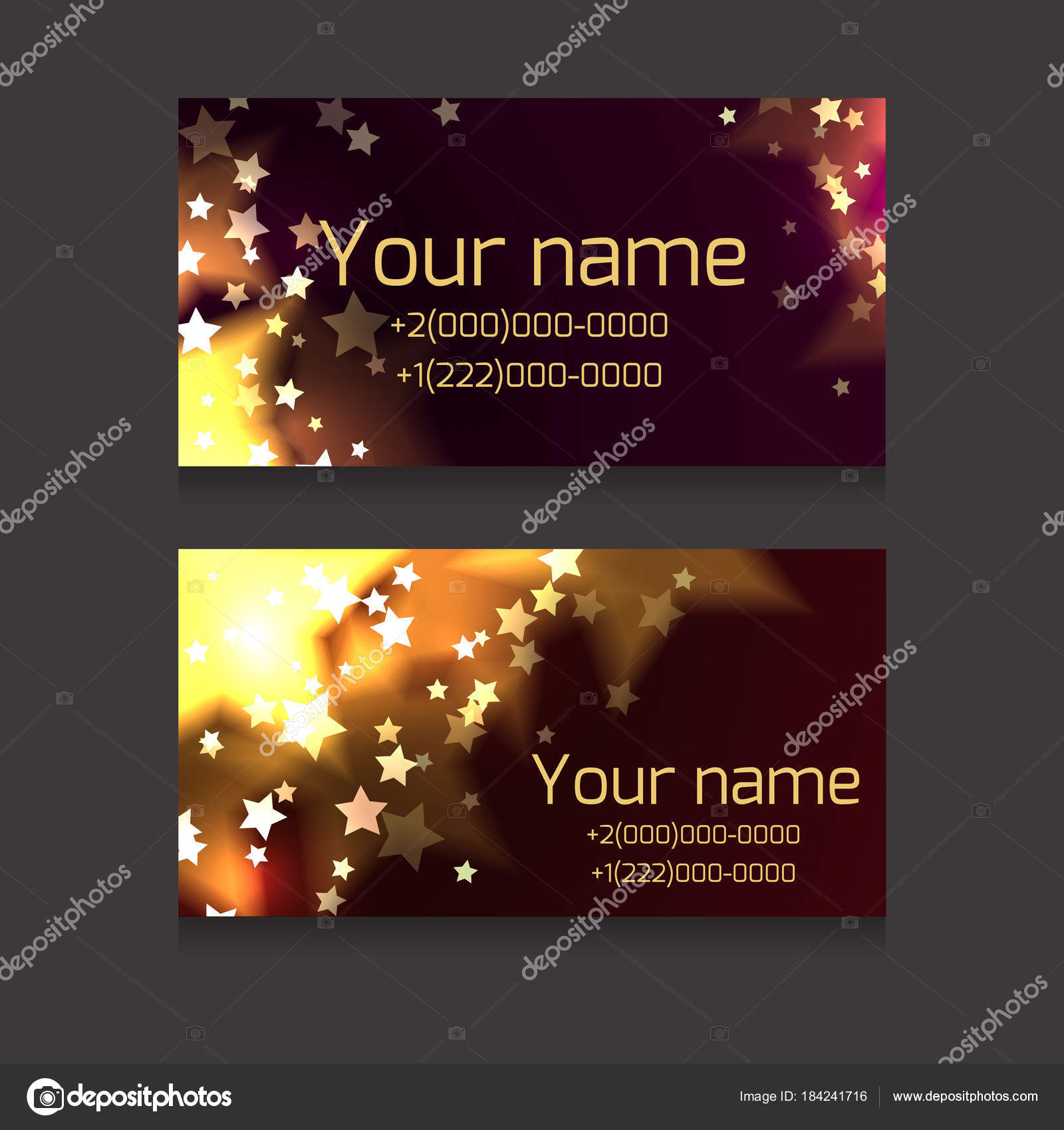 Set Business Cards Sparks Stars Dark Background Festive Business ...