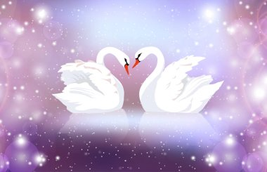 Romantic illustration of a pair of white swans on a blurred background with sparkles. Married couple. Romance. Vector illustration for your creativity.