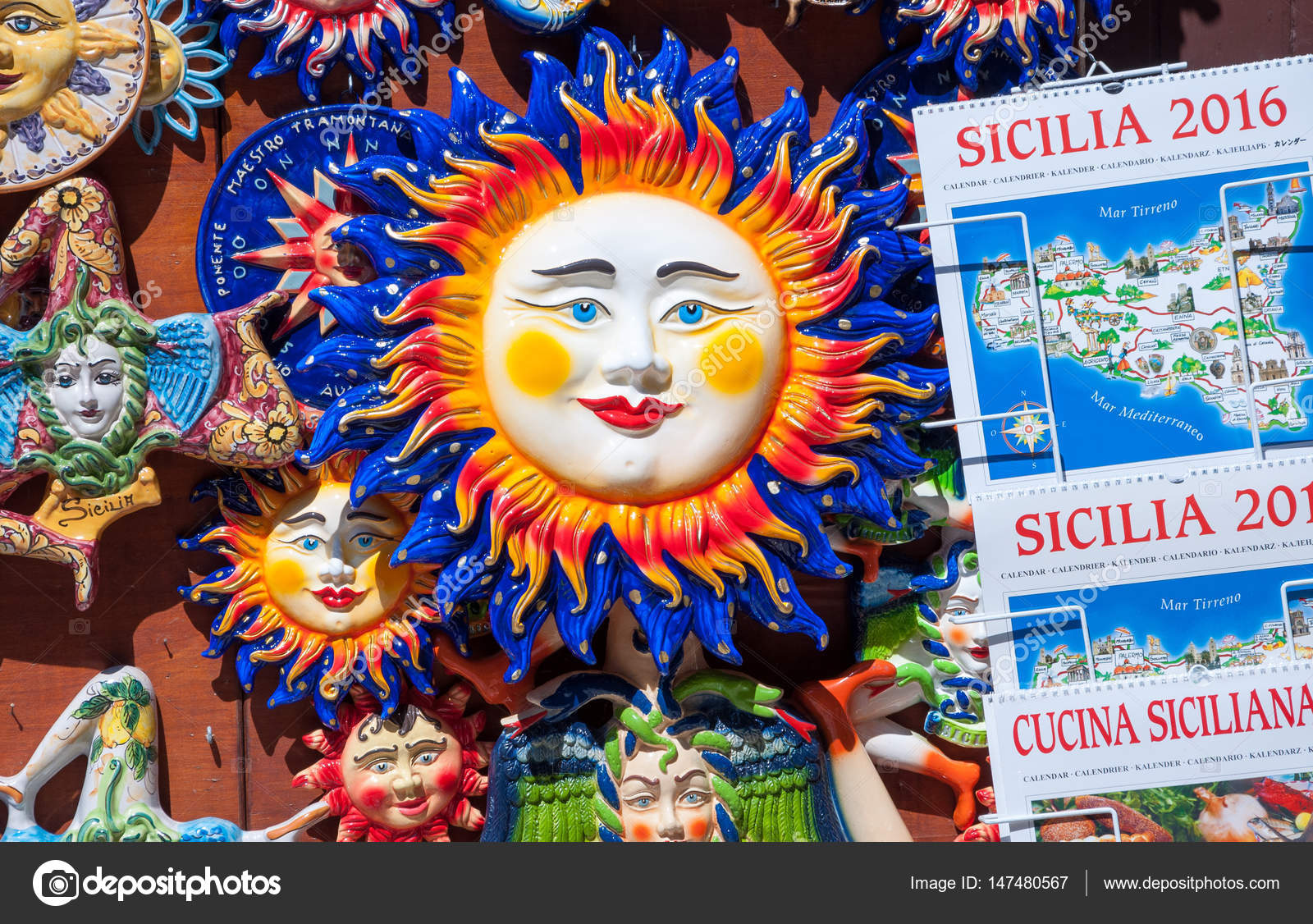 Traditional Souvenirs Of Ceramics And Trinacria Is Symbol Of Sicily