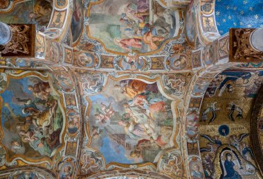 Celling of the famous church of Santa Maria dell'Ammiraglio in Palermo