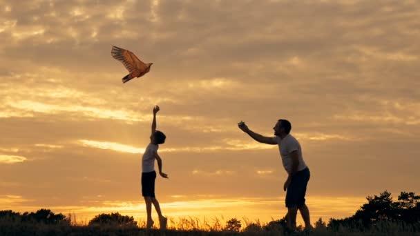 Šťastný otec rodiny a děti pobíhají v louce s drakem v létě při západu slunce