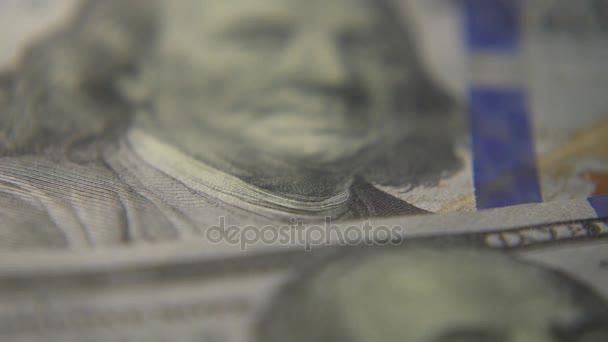 Detail bankovky dolaru. Makro fotografie bankovek. Portrét Georga Washingtona.