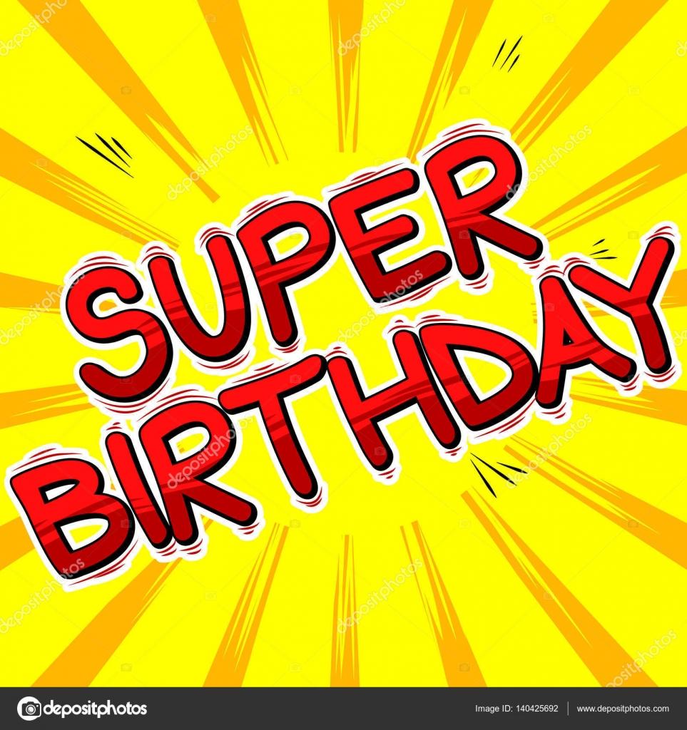 Super Verjaardag Comic Book Stijl Word Stockvector C Noravector
