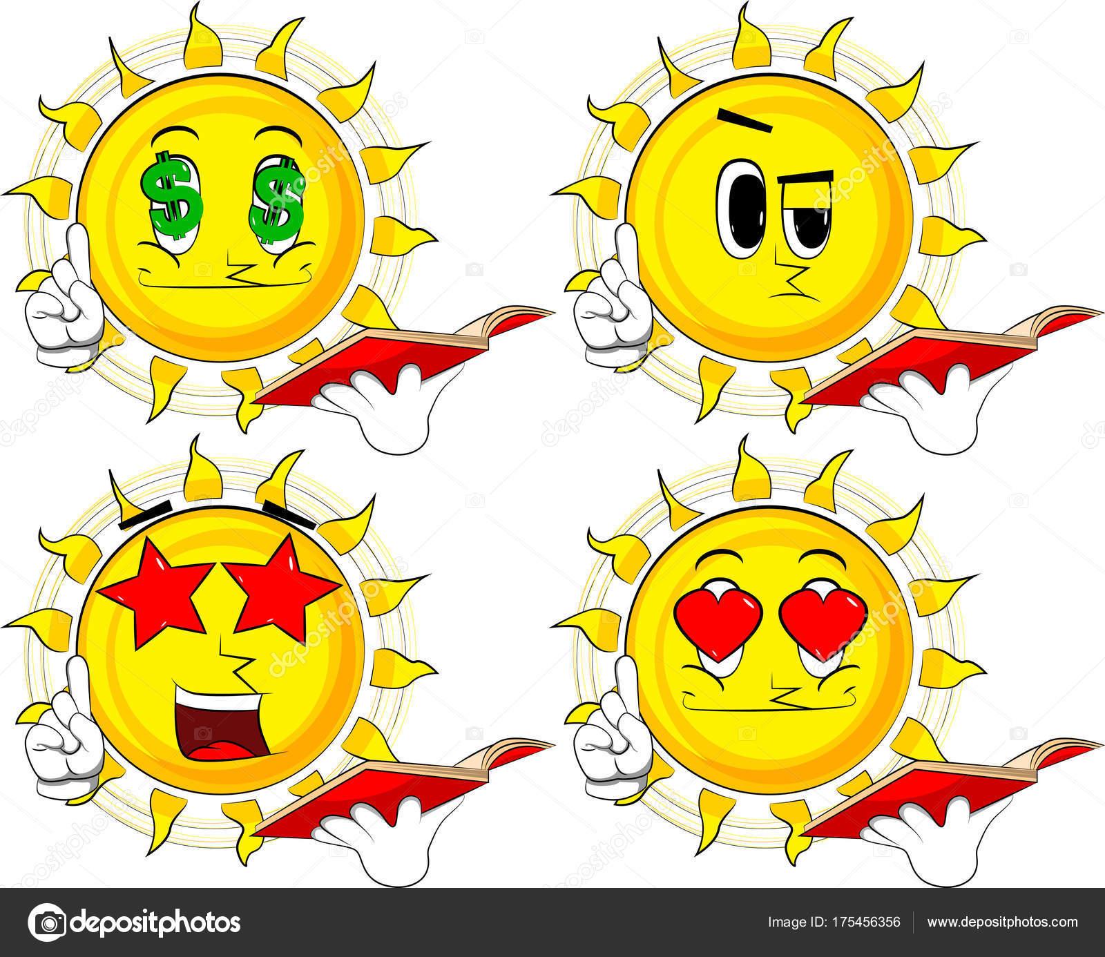 desenhos animados sol lendo livro vermelho fazendo ponto coleção com