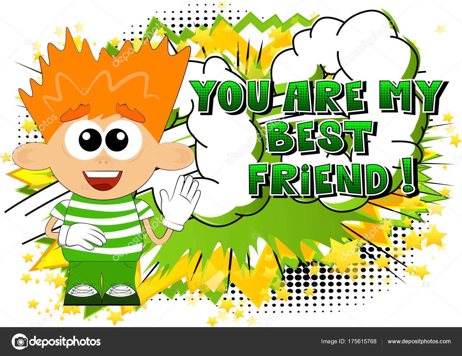 Vektor Illustrierte Cartoon Junge Mit Sie Sind Best Friend Text ...