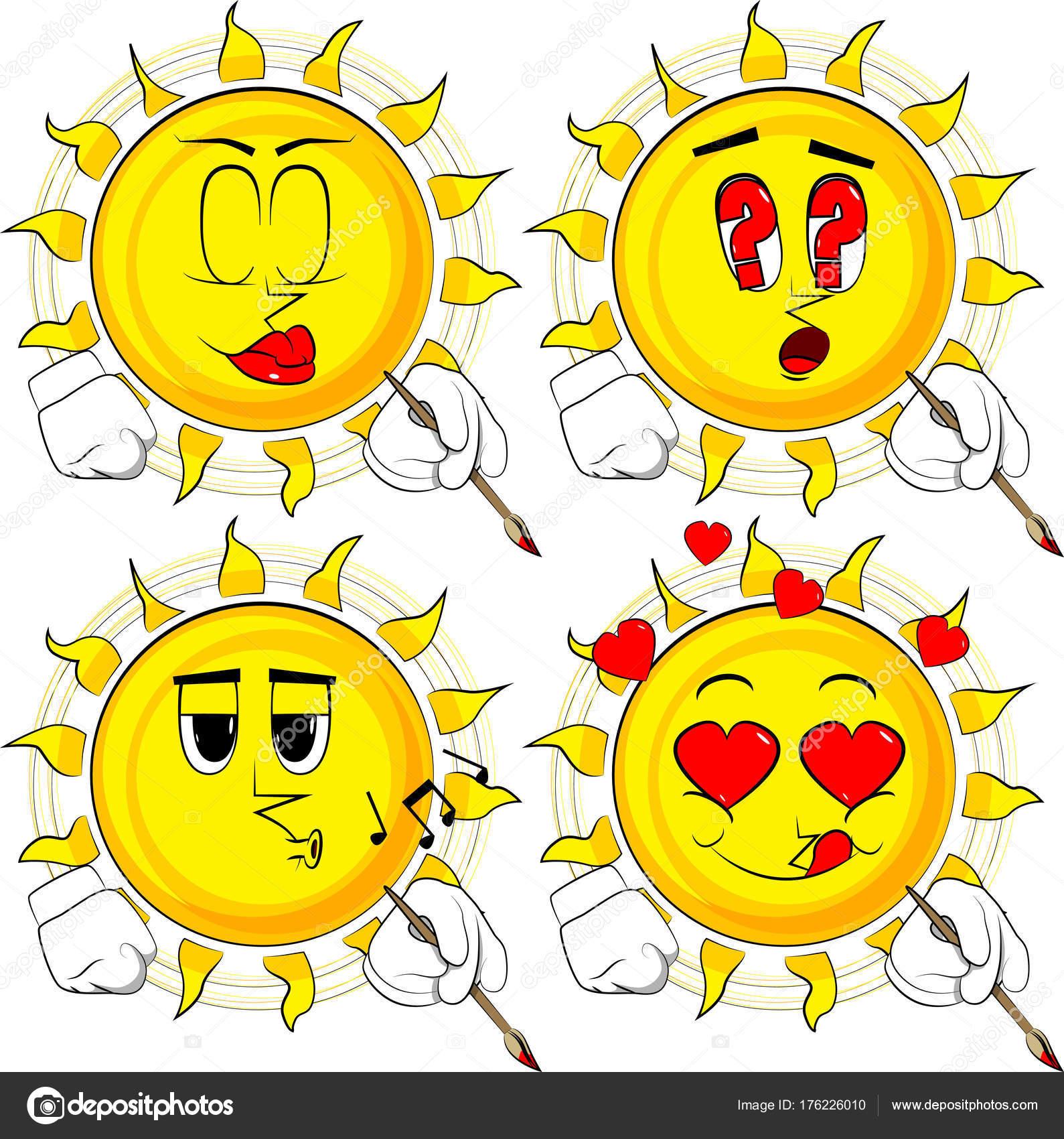 Karikatür Sanatçısı Güneş Boyama Koleksiyon çeşitli Yüz Ifadeleri