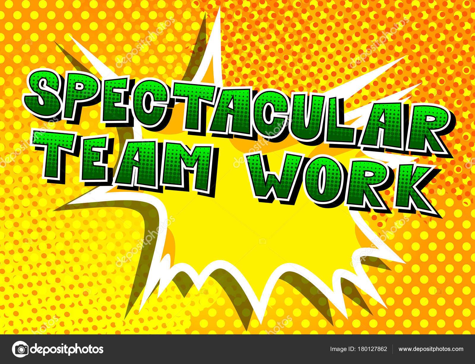 Lavoro Squadra Spettacolare Frase Stile Fumetti Fondo