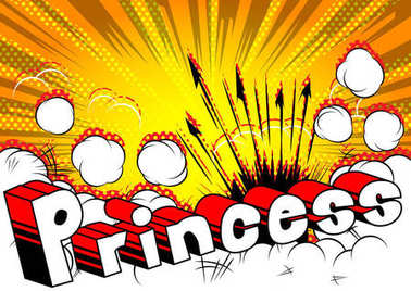 Princess - Comic book style phrase on abstract background.