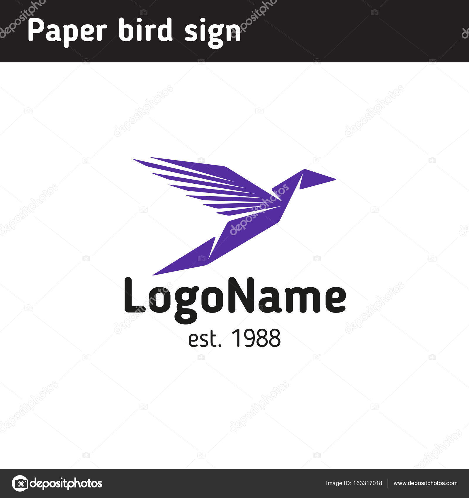 Template Logo In The Form Of Paper Birds Stock Vector