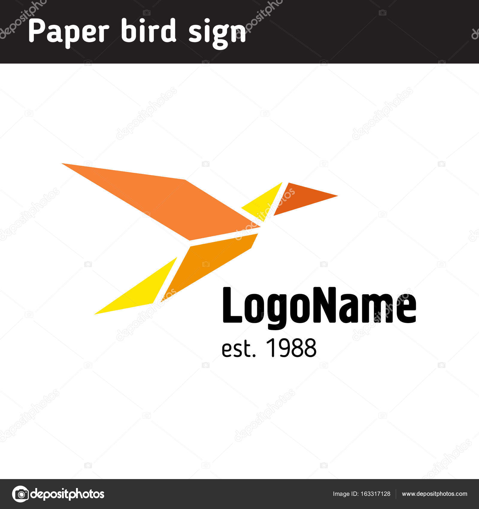 template logo in the form of paper birds stock vector poladroid